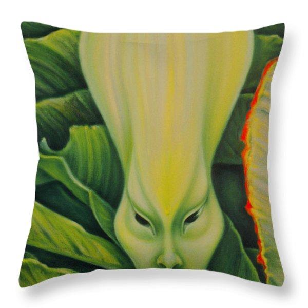 Alien Throw Pillow by Rene Holovsky