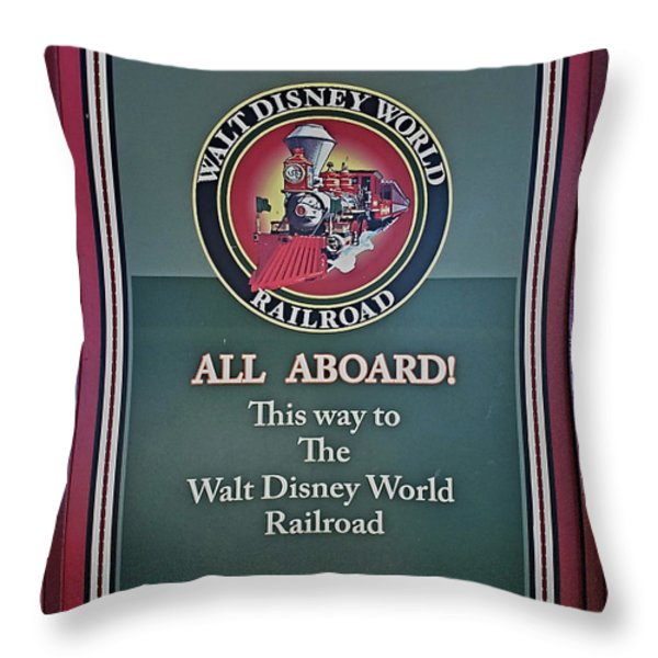 All Aboard Sign Throw Pillow by Thomas Woolworth