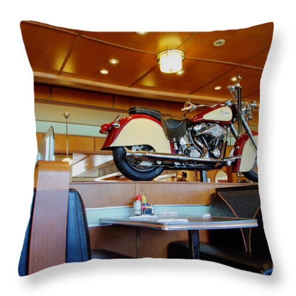 All American Diner 4 Throw Pillow by Bob Christopher