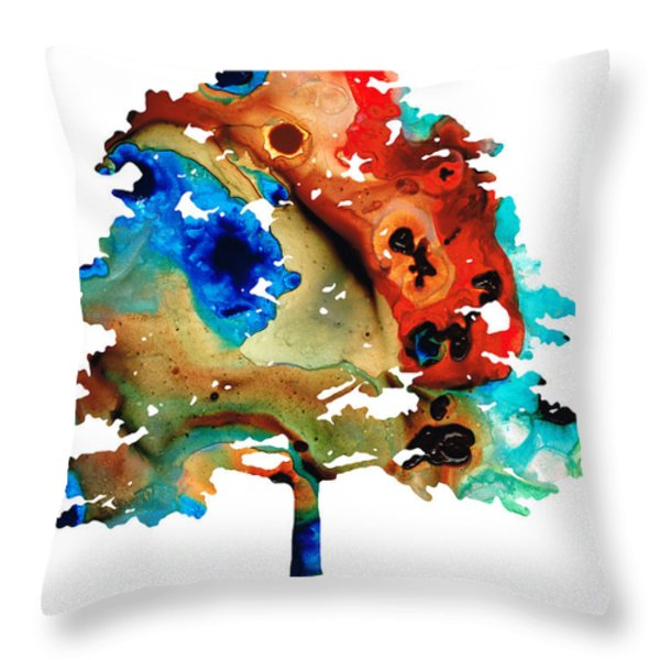 All Seasons Tree 3 - Colorful Landscape Print Throw Pillow by Sharon Cummings