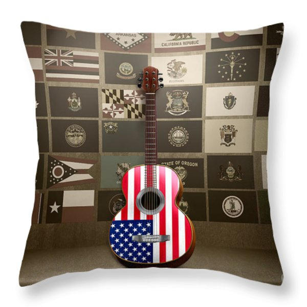 All State Flags - Retro Style Throw Pillow by Bedros Awak