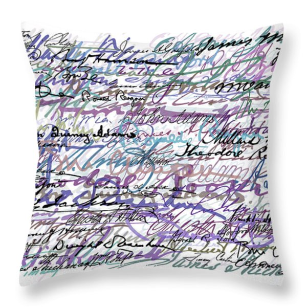 All The Presidents Signatures Blue Rose Throw Pillow by Tony Rubino