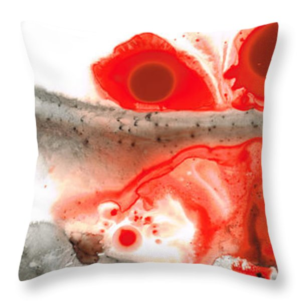 All Things Considered - Red Black And White Art Throw Pillow by Sharon Cummings