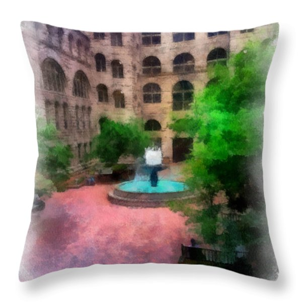 Allegheny County Courthouse Courtyard Throw Pillow by Amy Cicconi