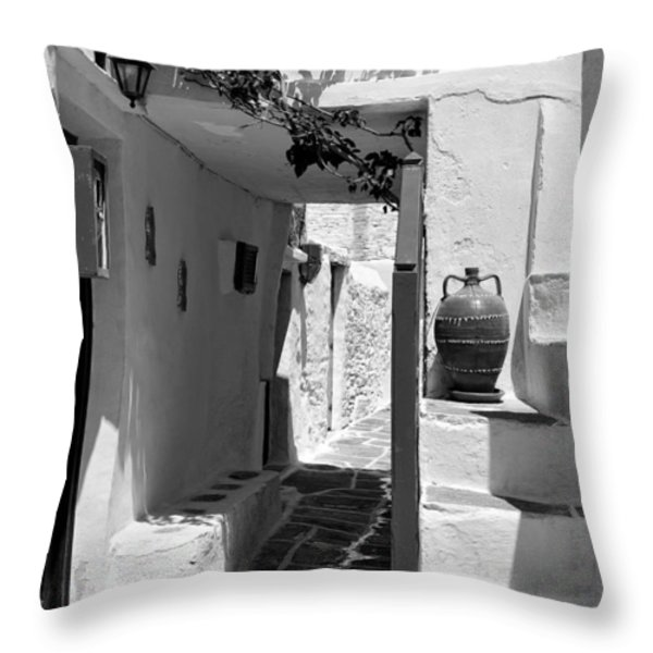 Alley in Kastro village Throw Pillow by George Atsametakis