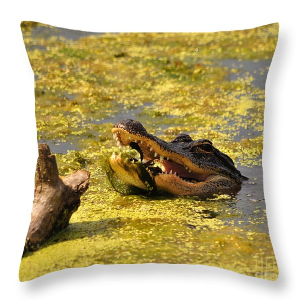 Alligator Ambush Throw Pillow by Al Powell Photography USA