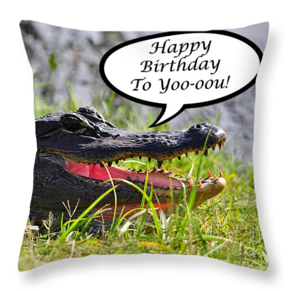 Alligator Birthday Card Throw Pillow by Al Powell Photography USA