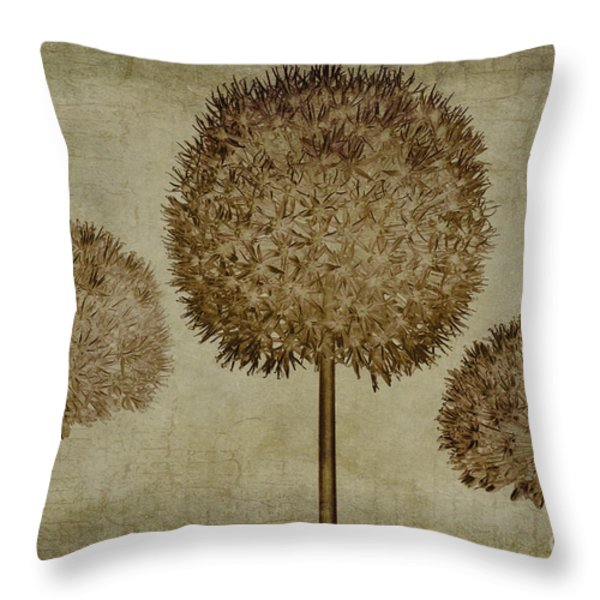 Allium Hollandicum Sepia Textures Throw Pillow by John Edwards