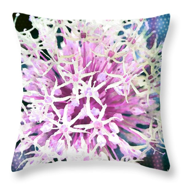 Allium Series - After the Rain Throw Pillow by Moon Stumpp