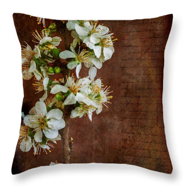 Almond Blossom Throw Pillow by Marco Oliveira