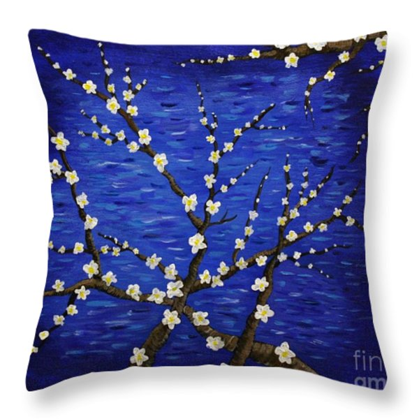 Almond Branches In Bloom Throw Pillow by Vicki Maheu