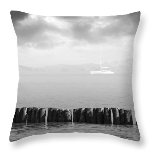 Along The Breakwater Throw Pillow by Wim Lanclus