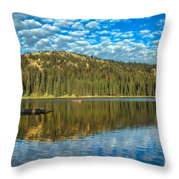 Alpine Lake Fishing Throw Pillow by Robert Bales