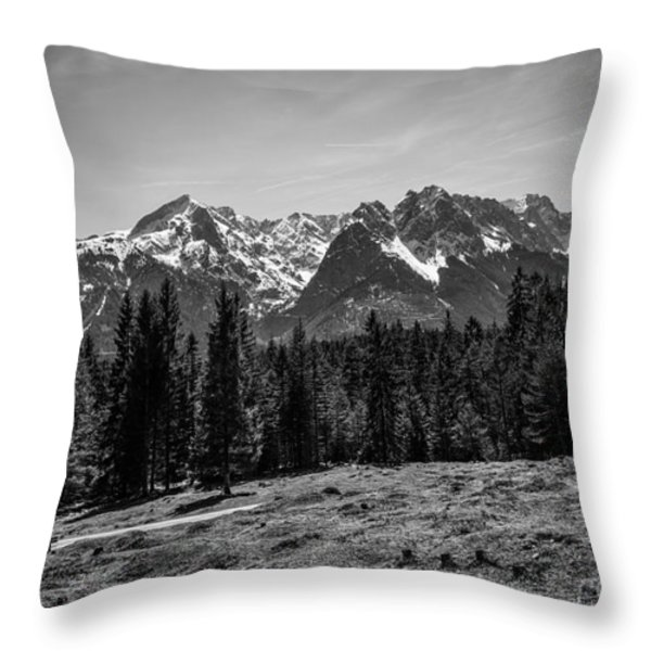 Alpspitze Till Zugspitze II Throw Pillow by Hannes Cmarits