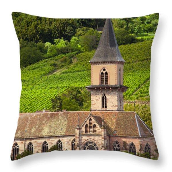Alsace Church Throw Pillow by Brian Jannsen