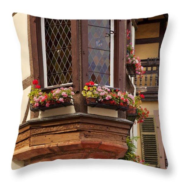 Alsace Window Throw Pillow by Brian Jannsen