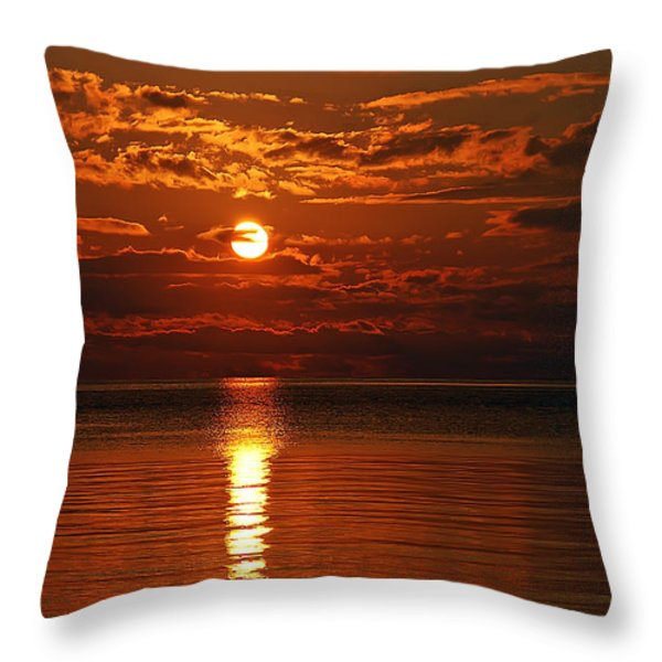 Amazing Sunset Throw Pillow by Aimee L Maher Photography and Art