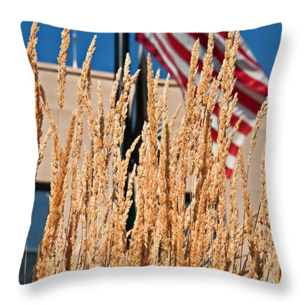Amber Waves of Grain and Flag Throw Pillow by Valerie Garner