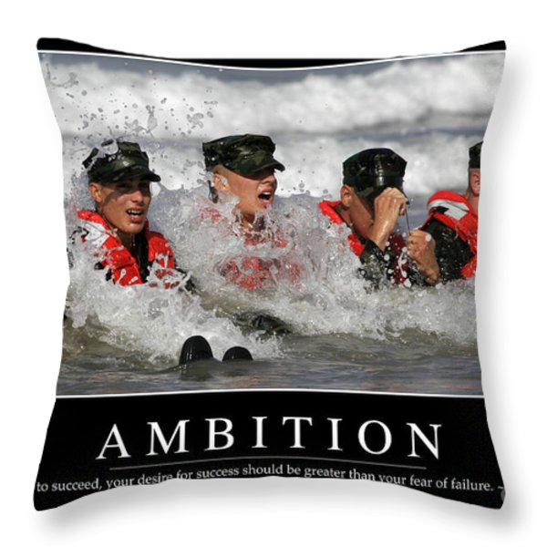 Ambition Inspirational Quote Throw Pillow by Stocktrek Images