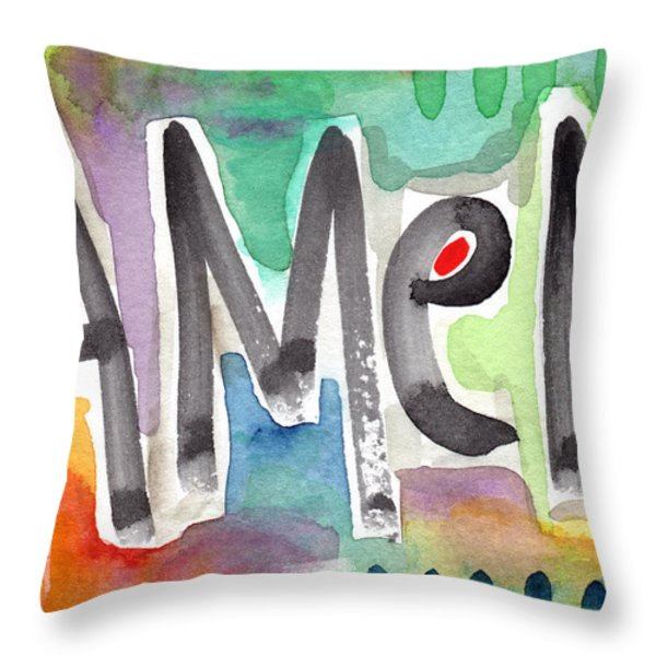 AMEN Greeting Card Throw Pillow by Linda Woods