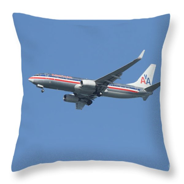 American Airlines Jet 7d21917 Throw Pillow by Wingsdomain Art and Photography