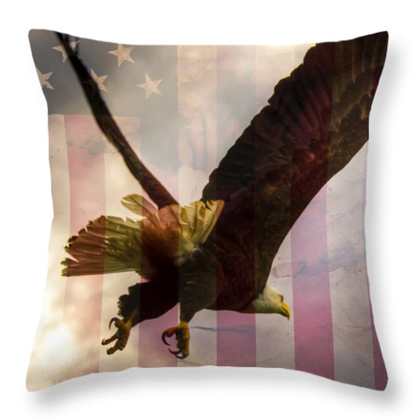 American Bald Eagle In Flight wtih Flag Throw Pillow by Natasha Bishop