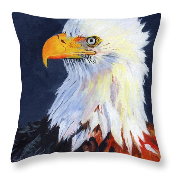 American Bald Eagle Throw Pillow by Mike Lester