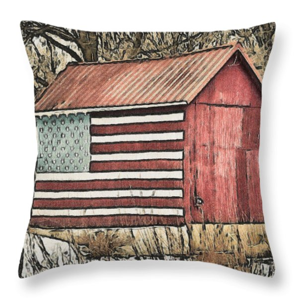 American Barn Throw Pillow by Trish Tritz
