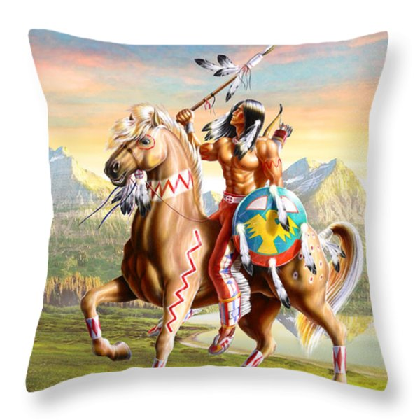 American Brave Throw Pillow by Adrian Cherterman