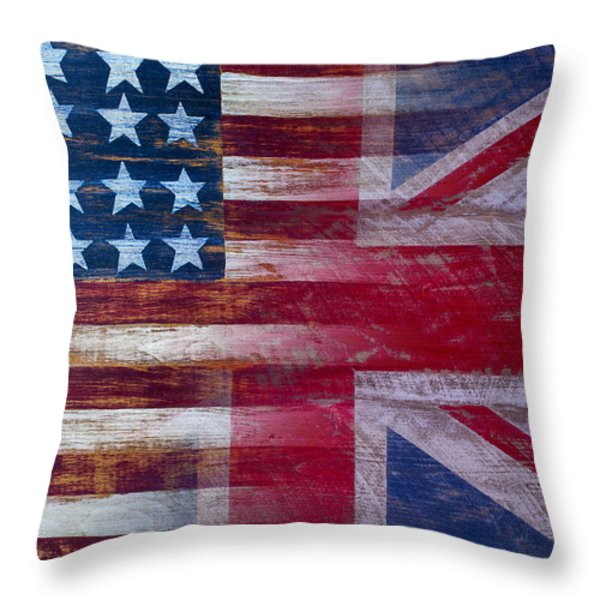 American British Flag Throw Pillow by Garry Gay