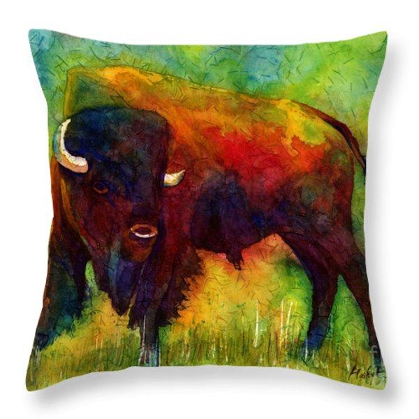 American Buffalo Throw Pillow by Hailey E Herrera