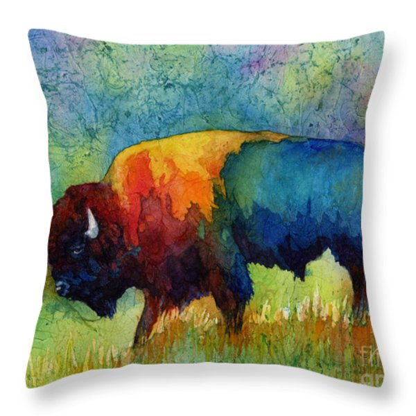 American Buffalo III Throw Pillow by Hailey E Herrera