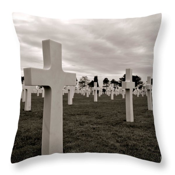 American Cemetery In Normandy Throw Pillow by Olivier Le Queinec