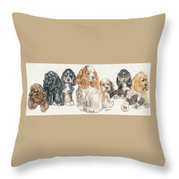 American Cocker Spaniel Puppies Throw Pillow by Barbara Keith
