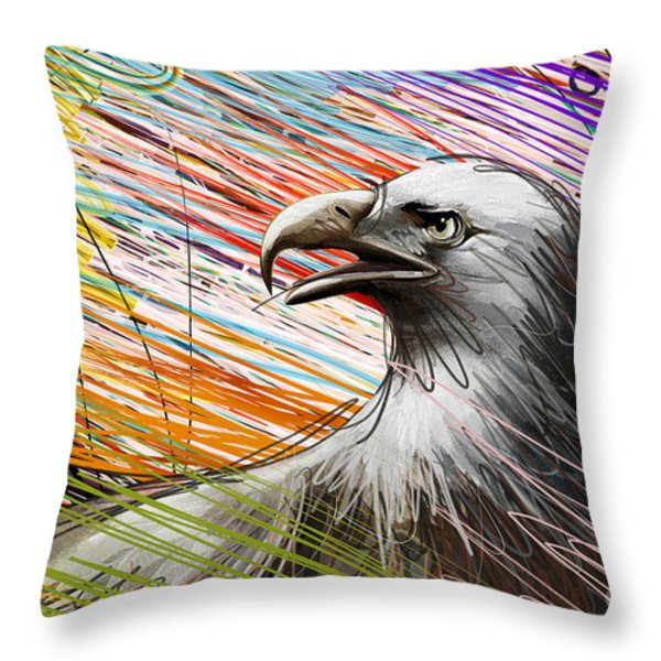 American Eagle Throw Pillow by Bedros Awak