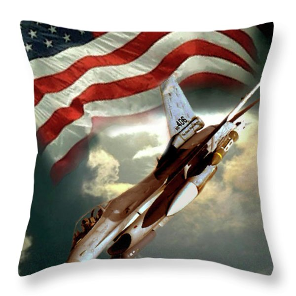 American Feedom  Throw Pillow by Gina Femrite