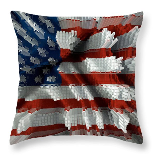 American Flag Abstract Throw Pillow by Todd and candice Dailey