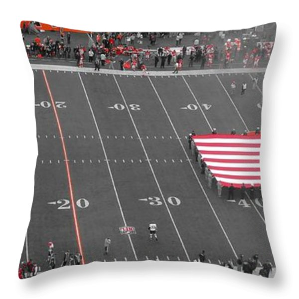 American Flag At Paul Brown Stadium Throw Pillow by Dan Sproul