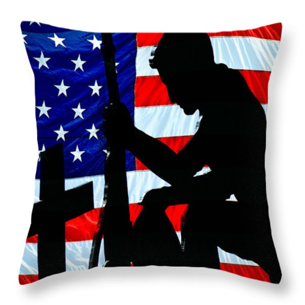 American Flag At Rest Throw Pillow by Bob Orsillo