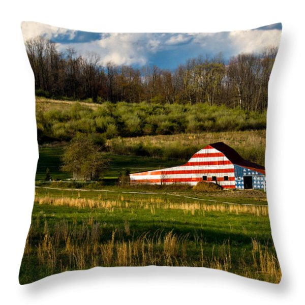 American Flag Barn Throw Pillow by Amy Cicconi
