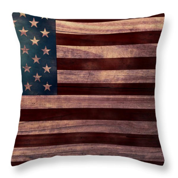 American Flag I Throw Pillow by April Moen