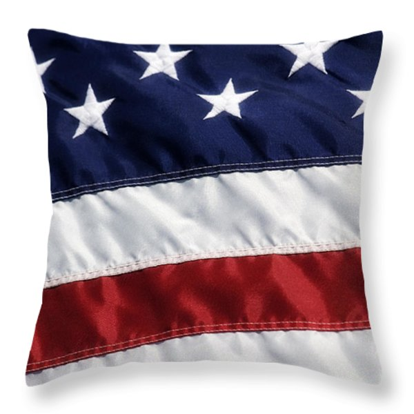 American Flag Throw Pillow by Jill Lang