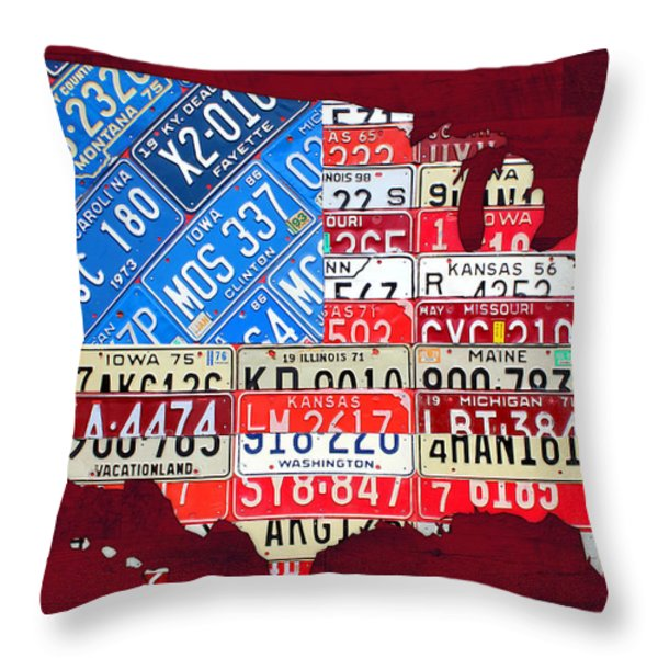 American Flag Map Of The United States In Vintage License Plates Throw Pillow by Design Turnpike