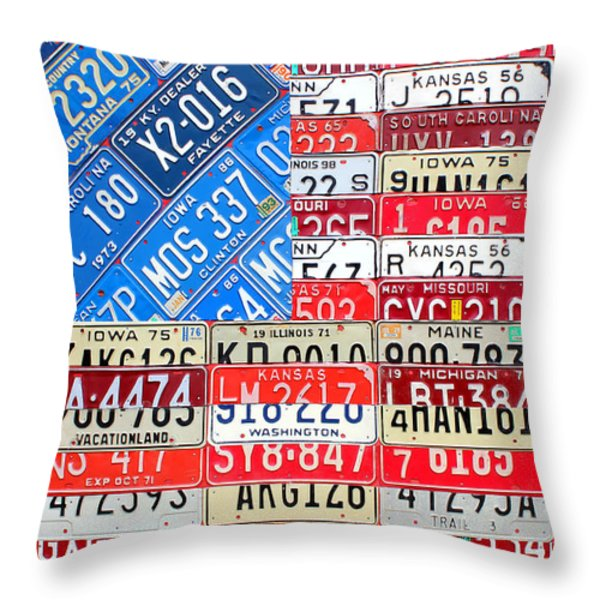 American Flag Recycled License Plate Art Throw Pillow by Design Turnpike