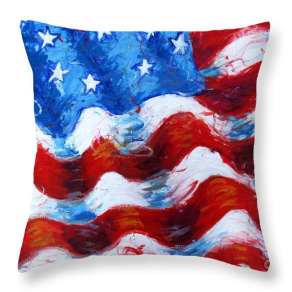 American Flag Throw Pillow by Venus
