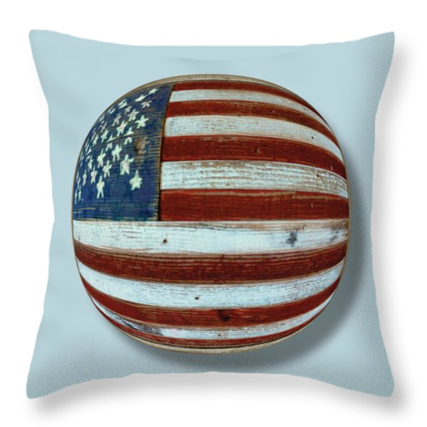 American Flag Wood Orb Throw Pillow by Tony Rubino
