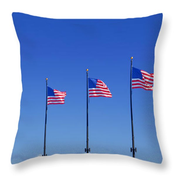 American Flags on Chicago's famous Navy Pier Throw Pillow by Christine Till
