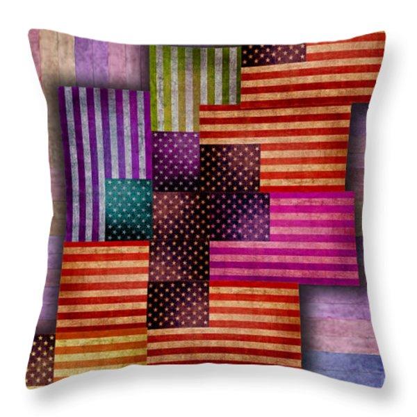 American Flags Throw Pillow by Tony Rubino