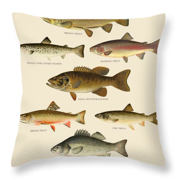 American Game Fish Throw Pillow by Gary Grayson