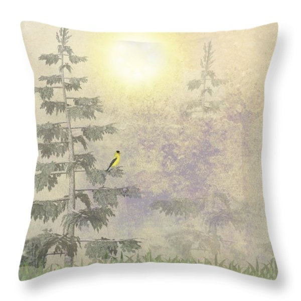 American Goldfinch Morning Mist Throw Pillow by David Dehner